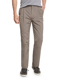 Red Valentino Pleated Front Straight Leg Trousers Mocha Brown Men's