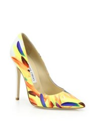 Jimmy Choo Anouk 120 Feather Print Leather Pumps Yellow Multi