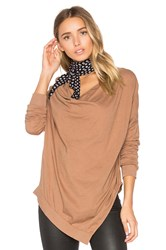 Bobi Light Weight Jersey Cowl Neck Long Sleeve Top Tan