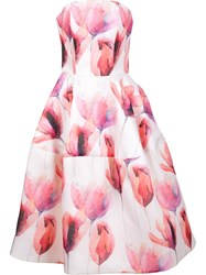 Christian Siriano Strapless Floral Gown White