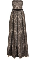 Catherine Deane Gabriella Pleated Embroidered Tulle Gown Gunmetal