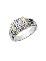 Lord And Taylor Diamond Accented Ring In Sterling Silver With 14 Kt. Yellow Gold Silver Gold