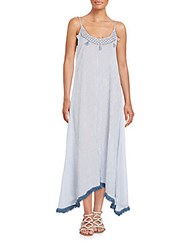 Saks Fifth Avenue Striped Fringe Maxi Dress Blue White
