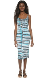 Raquel Allegra Long Layering Tank Dress Black And Turquoise Tie Dye