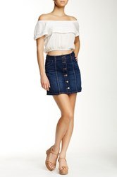 Jolt Seamed Denim Mini Skirt Blue