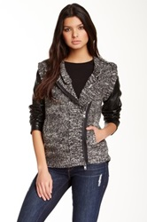 Twelfth St. By Cynthia Vincent Leather Sleeve Moto Jacket Multi