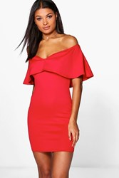 Boohoo Off Shoulder Sweetheart Frill Bodycon Dress Red
