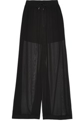 Mcq By Alexander Mcqueen Semi Sheer Georgette Wide Leg Pants Black