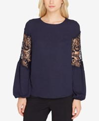 Tahari By Arthur S. Levine Asl Lace Inset Georgette Top Navy