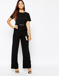 Warehouse Wide Leg Belted Detail Jumpsuit Black