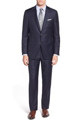 Men's Big And Tall Hickey Freeman Classic Fit Stripe Wool Suit Navy