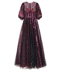 Costarellos Embroidered Tulle Gown Purple