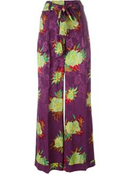 Etro Floral Print Palazzo Pants Pink And Purple