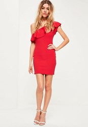 Missguided Petite Exclusive Red Off Shoulder Frill Dress