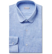Caruso Slim Fit Penny Collar Slub Linen Shirt Blue