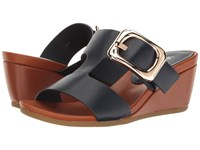 Vaneli Danel Navy Nappa Tan Super Calf Gold Buckle Women's Wedge Shoes Black