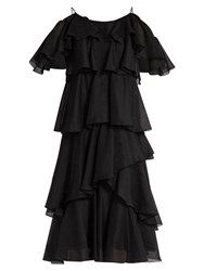 Anna October Tiered Ruffled Georgette Dress Black