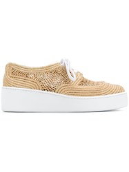Robert Clergerie Lace Up Sneakers Nude And Neutrals