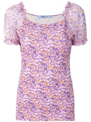 Blumarine Floral Short Sleeve Blouse Pink And Purple