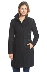 Via Spiga Women's Wool Blend Coat With Faux Leather Trim Black
