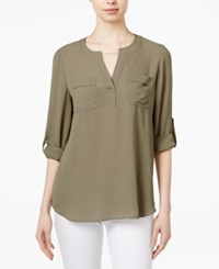 Maison Jules Utility Blouse Only At Macy's Dusty Olive