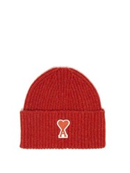 Ami Alexandre Mattiussi Logo Patch Ribbed Wool Beanie Hat Red