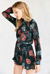 Astr Eva Floral Long Sleeve Mock Neck Romper Green Multi