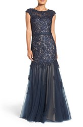 La Femme Women's Lace And Tulle Mermaid Gown Navy