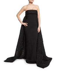 Brandon Maxwell Finale Strapless Crepe Lace Cape Back Gown Black Size 4