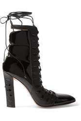 Paula Cademartori Warrior Cutout Lace Up Patent Leather Boots Black
