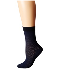 Wolford Cotton Stripes Socks Navy Black Women's Crew Cut Socks Shoes Blue
