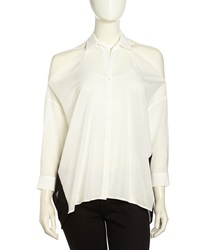Stella And Jamie Cold Shoulder Mixed Media Blouse Gardenia Black