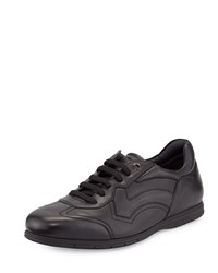 Salvatore Ferragamo Leggero Leather Lace Up Sneaker Nero Men's Size 10Ee