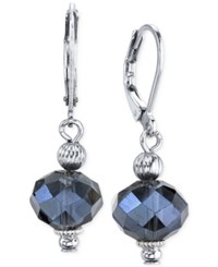 2028 Silver Tone Blue Bead Drop Earrings