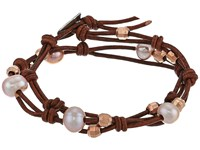 Chan Luu 12 Pearl Double Strand Leather Bracelet Natural Pink Natural Dark Brown Bracelet Gold