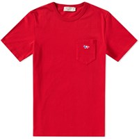 Maison Kitsune Tricolour Fox Pocket Tee Red