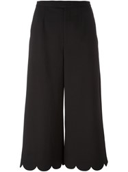 Red Valentino Cropped Scallop Detail Pants Black