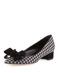 Manolo Blahnik Listony Herringbone Bow Pump Black Gray Blk Grey