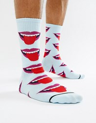 Huf Socks With Repeat Tongue Print In Grey