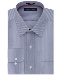 Tommy Hilfiger Men's Big And Tall Classic Fit Non Iron Blue Stripe Dress Shirt Navy