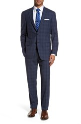 Hart Schaffner Marx Men's Big And Tall Classic Fit Plaid Wool Suit Navy