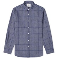Portuguese Flannel Prince Of Wales Button Down Check Shirt Blue