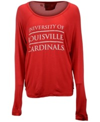 Retro Brand Women's Louisville Cardinals Chelsea Stacked Split Back T Shirt Red