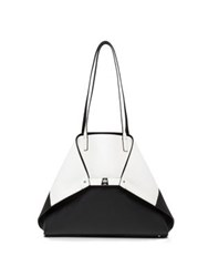 Akris Ai Medium Convertible And Reversible Colorblock Leather Tote White Black