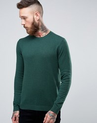 Asos Crew Neck Jumper In Blue Cotton Faded Petrol Green