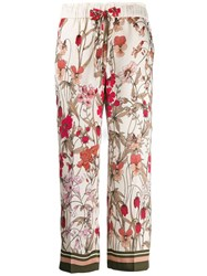 Cambio Cropped Floral Trousers Neutrals