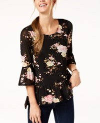 Ny Collection Petite Printed Bell Sleeve Top Black Powerpetal
