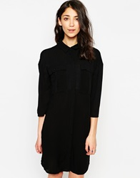 Vero Moda Long Lined Shirt Dress With 3 4 Sleeves Black