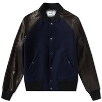 Ami Alexandre Mattiussi Leather Sleeve Teddy Jacket Black