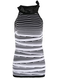 D.Exterior Striped Sleeveless Knitted Top Black
